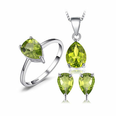 JewelryPalace Pear 4.4ct Natural Green Peridot Jewelry Sets 925 Sterling Silver