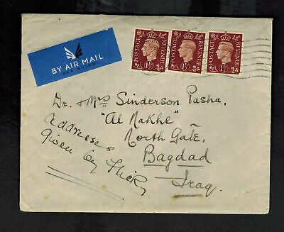 1938 England Airmail Cover FFC to Baghdad Iraq Imperial Airways Lady Sinderson