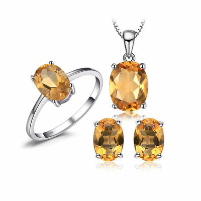 JewelryPalace 4.2ct Natural Citrine Birthstone Jewelry Sets 925 Sterling Silver