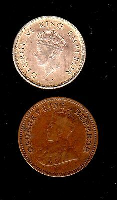 2 India Coins, 1/4 Rupee Silver, 1939 Year , 1/2 Pice 1915 Year