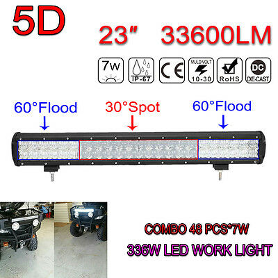 23Inch 336W 33600LM OSRAM LED 5D Bar Combo Beam LED Car SUV Work Light Offroad