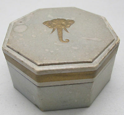 Vintage Gold Elephant Octagon Powder Cardboard Container Talc Neutral #2 Light