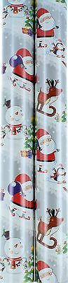 10m 2x5m Roll Cute Christmas Gift Wrapping Paper - Silver Santa Snowman Rudolph