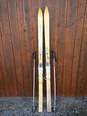 """Vintage Wooden 70"""" Long OFF WHITE Finish Skis with Metal Bindings"""