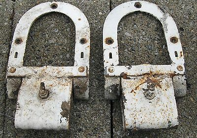 Antique Pair Of Barn Door Rollers Old White Paint