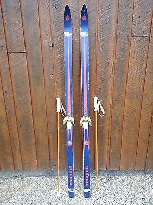"""Vintage Wooden 69"""" Long Skis Blue and Red Finish + Bamboo Poles"""