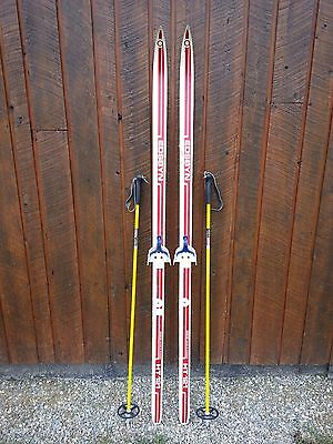 """Vintage Wooden 71"""" Long Skis Red  and White Finish + Bamboo Poles"""