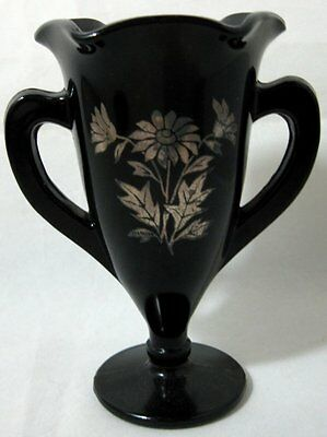 A Vintage Black Amethyst trophy Vase with Silver Overlay
