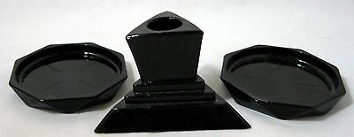 A Lot of Vintage Black Amethyst Glass 2 Coasters Art Deco Candle Holder