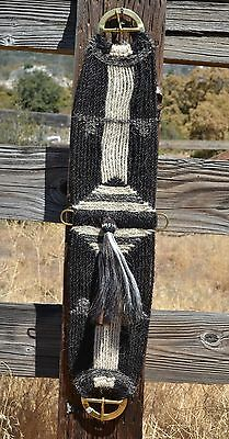 100% Mane Horsehair Vaquero Girth/Cinch with Shu-Fly -Black/White/Grey -34""