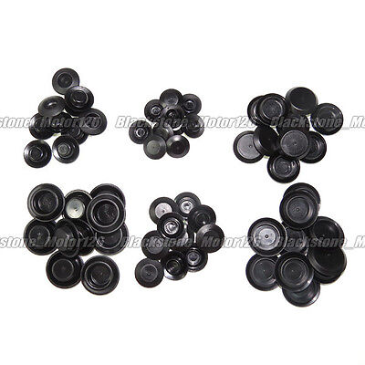 "60 Pcs Flush Mount Black Hole Plug Assortment Auto Body Sheet Metal 3/4""~1-5/32"""