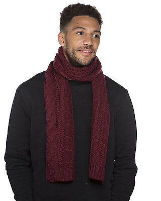 Unisex Mens Ladies Adult Long Chunky Cable Knitted Style Warm Winter Scarf