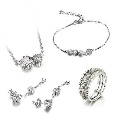 JewelryPalace 925 Sterling Silver 3 Stones Cubic Zirconia Flower Jewelry Set