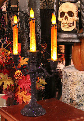 "16"" Lighted Flickering Flame Light Candelabra Halloween Decoration"