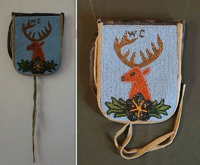 Early 1900 Native American Plains Beaded Bag Pouch with Elk & Initial WC