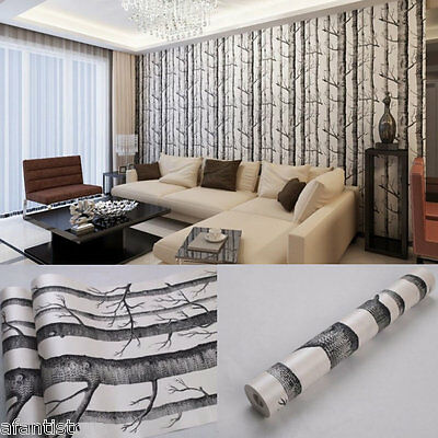 53cm x 10m Rustic Modern Forest Birch Tree Wallpaper Roll Black White Woods