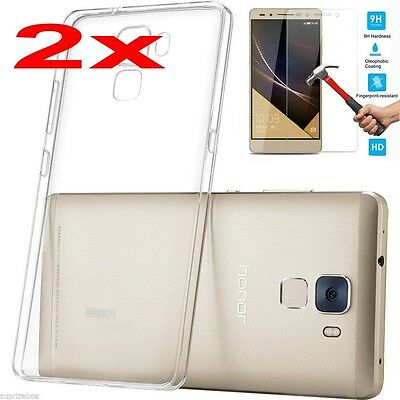 2x Huawei Phones Ultra-Thin Clear Soft Silicone TPU Gel Transparent Case Cover