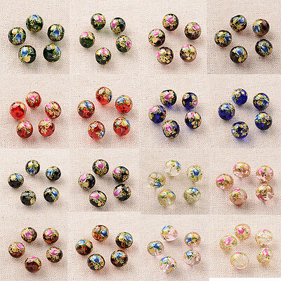 5pcs 10mm Flower Rose Camellia Painted Glass Round Beads Transparent Jewelry DIY