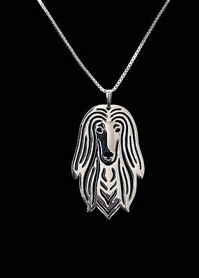 Afghan Hound 3D Silver pendant necklace dog collectible C81E