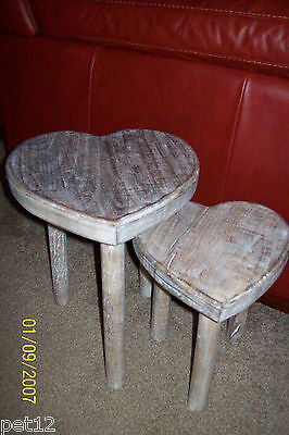 Set of 2 Heart Shaped Stools / SideTables