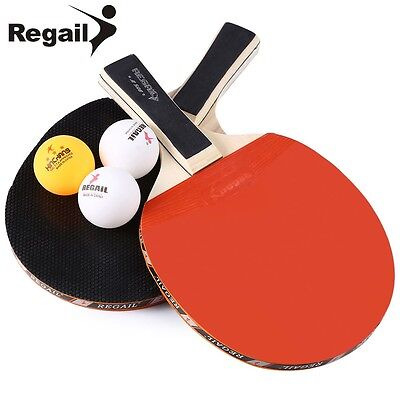 REGAIL Table Tennis Ping Pong Racket Two Long Handle Bat Paddle Three Balls AU