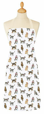 Cooksmart Cats On Parade PVC Coated Cotton Adult Apron Wipe Clean Full Bib New