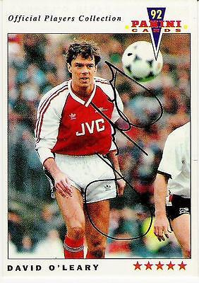 A Panini 92 card featuring & personally signed by David O'Leary of Arsenal.