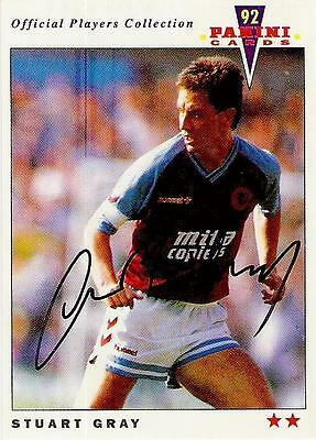 A Panini 92 card featuring & personally signed by Stuart Gray of Aston Villa.