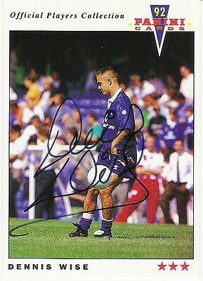A Panini 92 card featuring & personally signed by Dennis Wise of Chelsea.