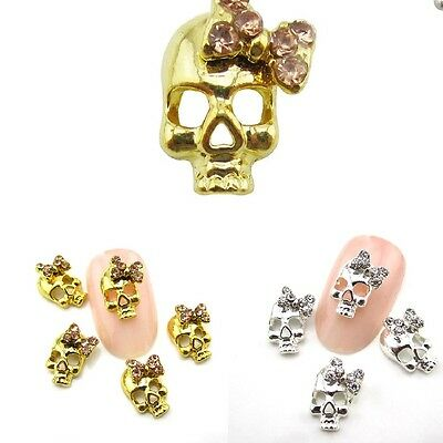 10pcs New Skull Design Rhinestone Alloy Nail Art Decorations DIY 3D Nail Beauty