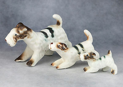 Vintage Miniature 3 Bone China Terrier Dog Family Figurines Matte Finish