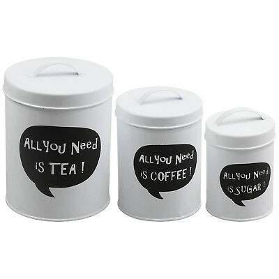 Pack of 3 All You Need White Metal Kitchen Nesting Containers Canisters Storage