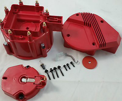Red Chevy Pontiac Buick Olds GM V8 HEI Performane Distributor Cap & Rotor Kit