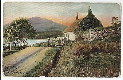 scotland scottish postcard old cottage at loch long