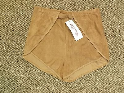 NOS Vtg 1970s CHOCOLATE BROWN Vented Sides TERRY CLOTH SHORTS XL Sporty Athletic