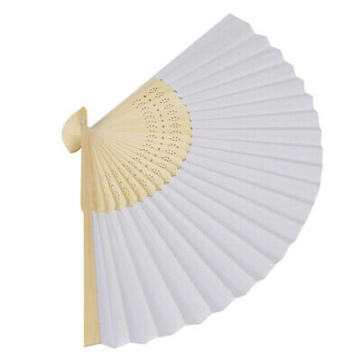 Bulk lot x 24 Plain White Paper Hand Fan Wedding Party Gift Decor Gift