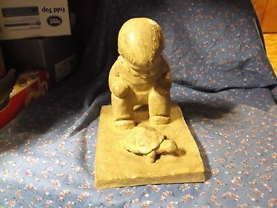 """Beautiful Vintage Haeger M. Strubel Boy Looking at Turtle About 7 1/4"""" High"""