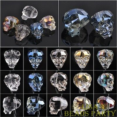 10PCS 14X13mm Big Skull Head Faceted Crystal Glass Loose Spacer Beads Bulk