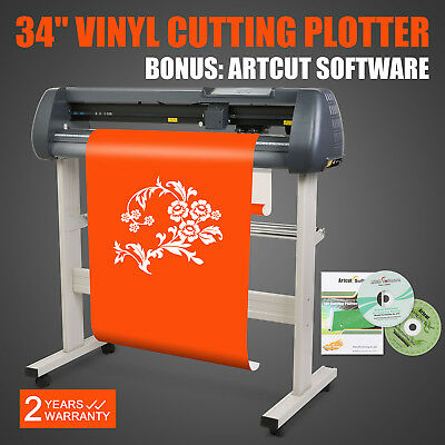 "34"" Vinyl Cutting Plotter Cutter W/ Artcut Software Stand Sign Cut"