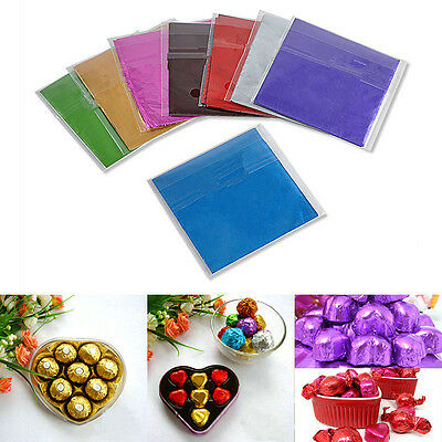 "100pcs 3"" X 3"" Square Candy Sweets Chocolate lolly Foil Wrappers Confectionary"