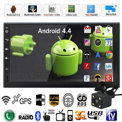 """Quad Core Android 4.4 3G WIFI 7"""" 2 DIN Car Radio Stereo MP5 Player GPS Nav+ CAM"""