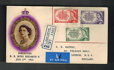 1953 Australia QE II Coronation First Day Cover to England Queen Elizabeth 2 FDC