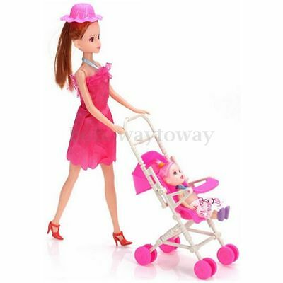 LovelyPlastic Baby Carriage Nursery Stroller Pram for Barbie Dolls DIY Kid Toy