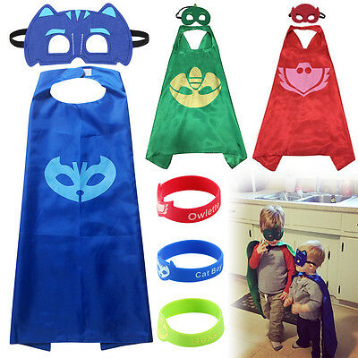 9 Pcs Kids Superhero PJ Masks Cape Mask Set Owlette Catboy Cosplay Costume Party