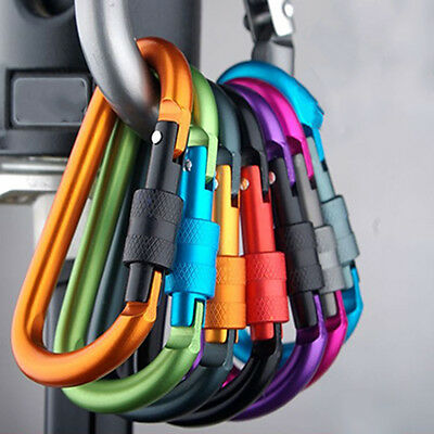 5X Outdoor D-Ring Aluminum Screw Locking Carabiner Hook Clip Climbing Keychain*