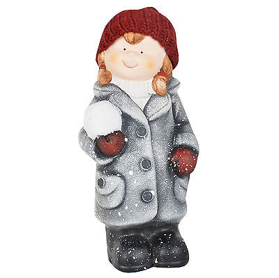 Collectible Ceramic Standing Girl With Snowball Figurine 23cm Xmas Decoration