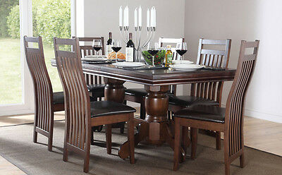 Chatsworth & Java Extending Dark Wood Dining Table & 4 6 Chairs Set (Brown)