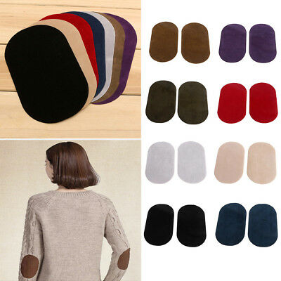 2PCS Leather Suede Iron-on Oval MG Elbow Knee CA Patches Repair Sewing Applique