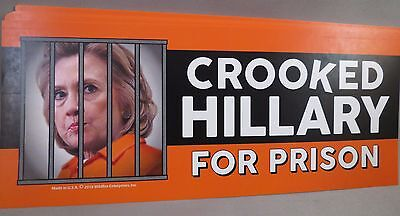WHOLESALE LOT OF 20 CROOKED HILLARY FOR PRISON STICKERS TRUMP 2016 $ Anti bumper