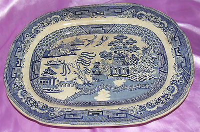 Large Antique Blue & White Willow Pattern Staffordshire Stoneware Platter